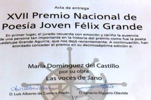 María Domínguez gana el XVII Premio Nacional de Poesía Joven Félix Grande