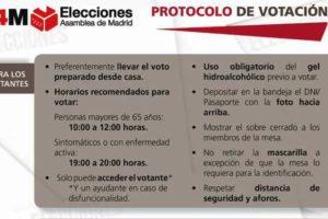 4M Elecciones Asamblea de Madrid: Protocolo de votación para unas lecciones seguras
