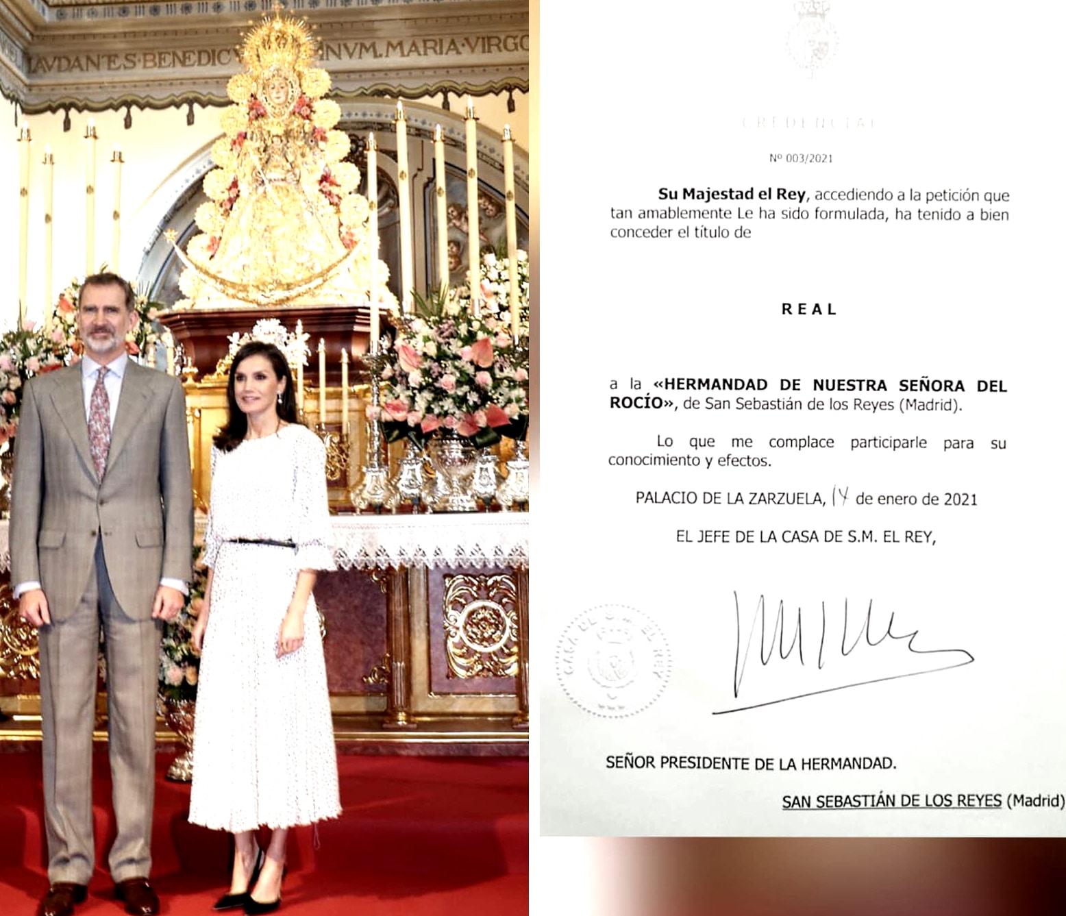 Carta de la Casa Real a la Hermandad del Rocío de Sanse.